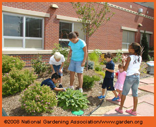 Students in schoolyard garden